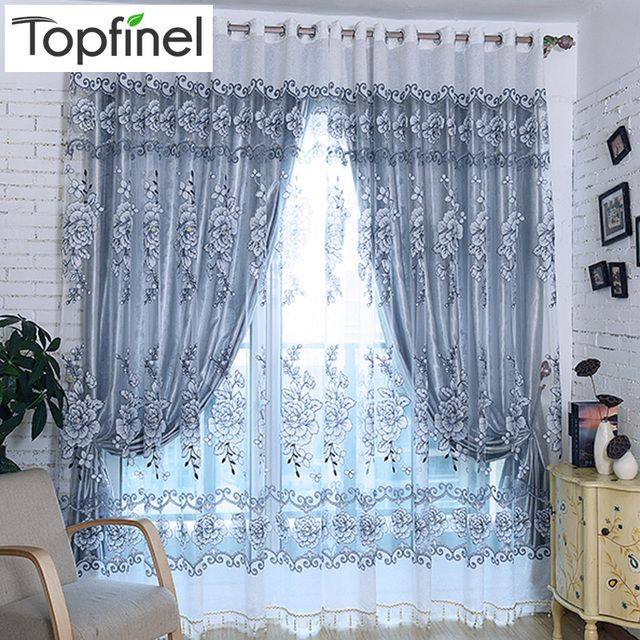 Top Finel 2016 Grey Luxury Jacquard Tulle Sheer Window Curtains for Living Room the Bedroom Embroidered Shade Voile Drapes Panel