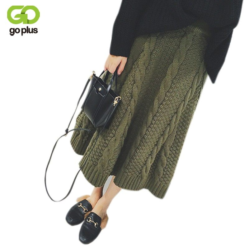 GOPLUS Warm Knitted Skirt 2018 Autumn Winter Apricot A Line Skirts Korean Style Army Green Black Women Thick Mid-calf Long Skirt