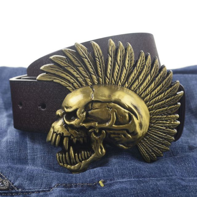 Street Fighter Skull buckle PU leather belt big buckle man belts free shipping fashion great leather belt 7584