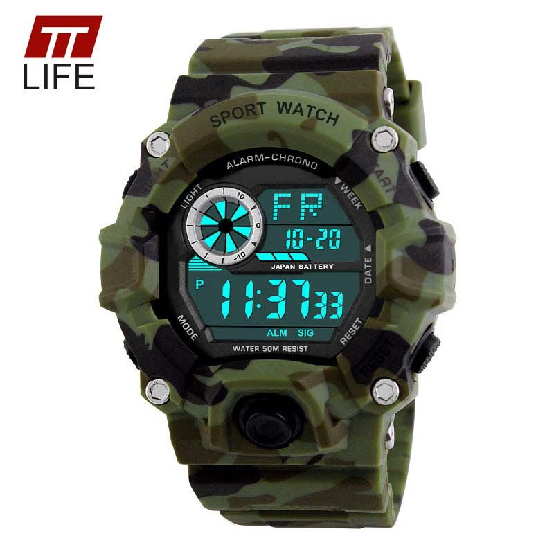 TTLIFE Sports Watches Free Retail Box Army Camouflage Military Watch Mens Swimming LED Digital Sport Wristwatches Men relogio