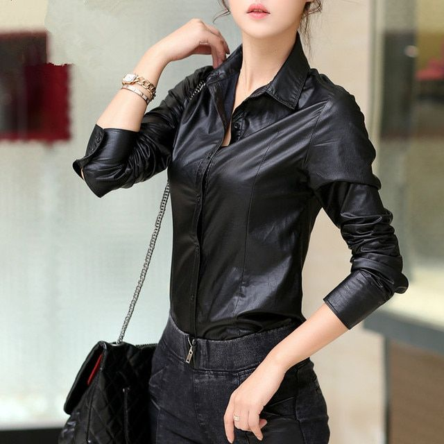 Pu leather black Tops women leather shirt,fashion casual autumn winter blouse, female full sleeve pu shirts,Tops TT1476