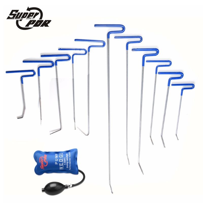 Profession PDR Rods Hooks Car Crowbar Pump Wedge PDR Auto body repair Toolkit Paintless Dent Repair Tools Dent Removal Tools