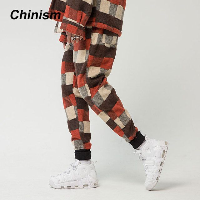 CHINISM Stylish Plaid Thick Jogger Pants Men's Loose Thick Cotton Trousers Winter Warm Elastic Waist Jogger Trousers