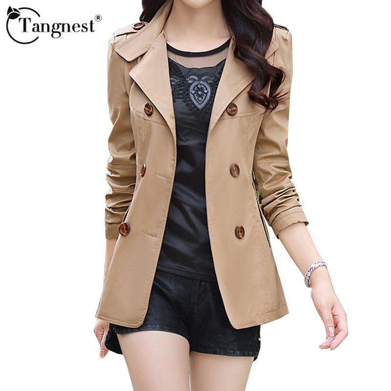 2017 Five Solid Colors Plus Size Women Autumn Jacket Fashion Double-Breasted Slim Female Slim Jacket TANGNEST WWF845