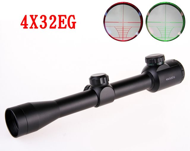 4X32 Rifle Scope with Red/Green Fiber Optic Sight Tri-illuminated Ballistic Reticle Riflescope for Hunting Rifle and Air Gun