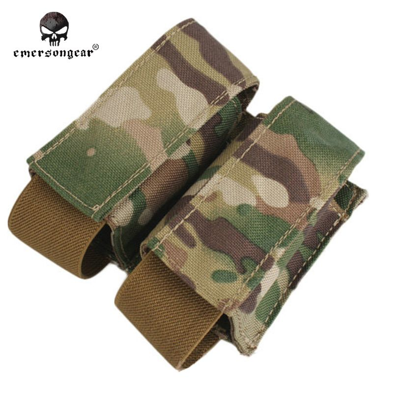Emersongear LBT Style 40mm Double Pouch Molle Hunting Military Airsoft Paintball Combat Gear EM6366 Multicam AOR Khaki