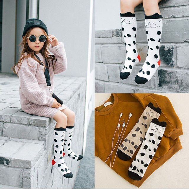 2016 kids girls Knee High Socks Cartoon Harajuku winter  Leg Warmers cute 3D Spotted fox animal Printing  Meias
