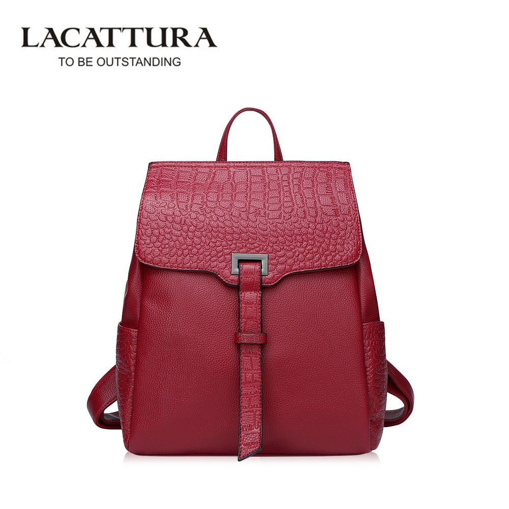 LACATTURA Alligator Female Backpack Fashion Genuine Leather Girl Backpack School Casual Wind Bag Backpack Shoulder Bag Mochilas