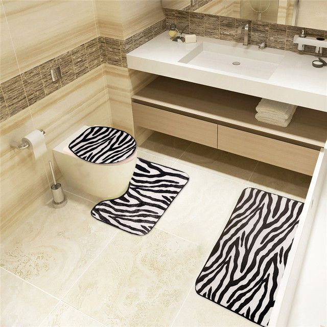 zebra pattern toilet sets, 3 sets of toilet Toilet seat cover floor mat  toilet seat cushion Bathroom products