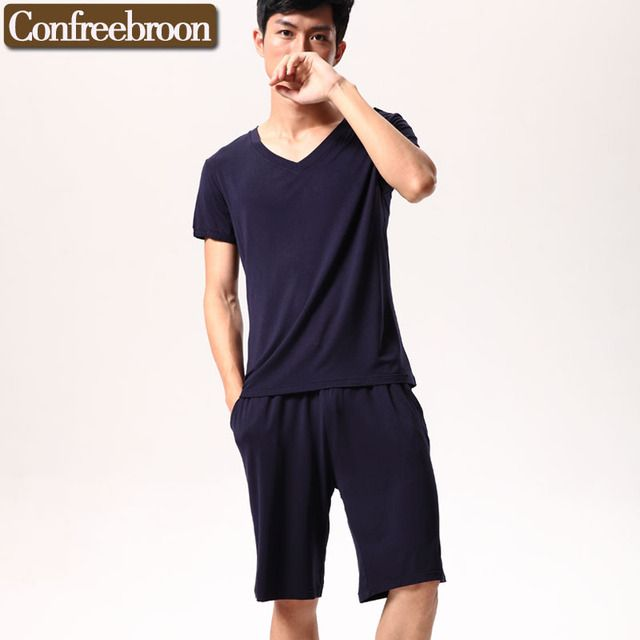 Summer New  burst paragraph Modal pajamas male Loose Casual  solid color short sleeved suit High quality Home suitTM601/2C081