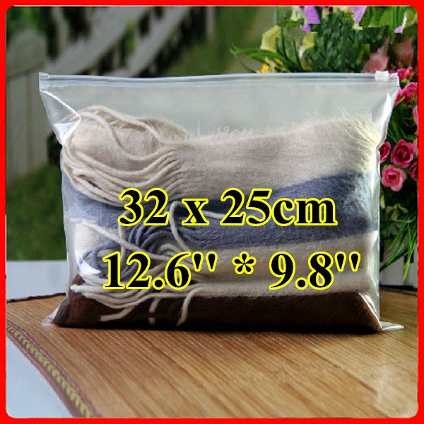 Free Shipping 50pcs/lot 32cm*25cm*160mic Half Clear Frosted Plastic Bag,Christmas Clothing Bag,Plastic Zipper Bag,Resealable Bag