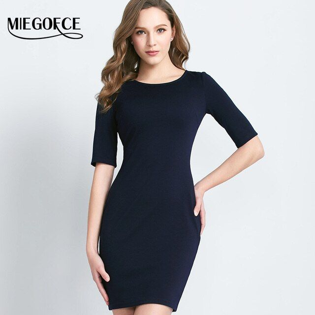 MIEGOFCE New Arrival Women's Elegant Office Tunic Dress Round Neck Elbow Sleeves Office Casual Uniform Dress Bottom Dress Hot
