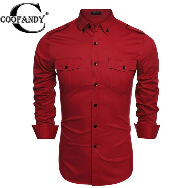 Coofandy Brand Men Shirt Long-sleeve Slim Fit Casual Shirts Fashion Men's Clothing Casual Camisa Masculina Plus Size New 2017