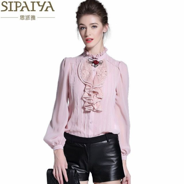 SIPAIYA New Fashion Pink White Black Silk Blouse Womens Office Ladies Casual Long Sleeve Ruffled Stand Collar Real Silk Blouses