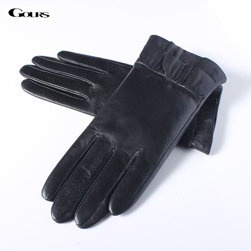 Gours Fall and Winter Women's Genuine Leather Gloves Ladies Black Fashion Goatskin Finger Gloves Warm New Arrival GSL060