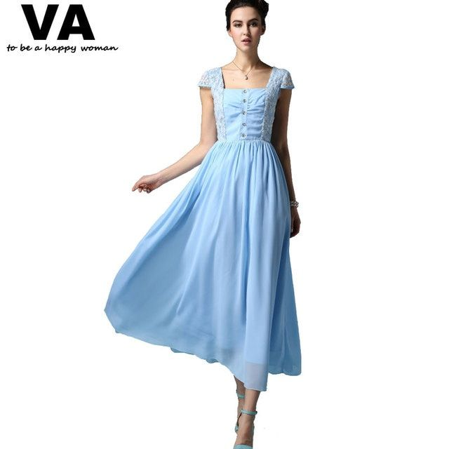 VA Puls Size New 2015 Women Blue Square Botton Collar Short Sleeve Summer Lace Chiffon Vintage Long Dress Clothes Vestido W01018