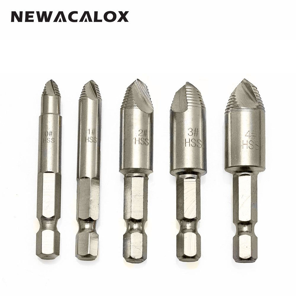 NEWACALOX Easy Speedout Stripped Remove Damaged Screw Extractor Set 0# 1# 2# 3# 4# Broken Stuck Screw Removal Tool Kit