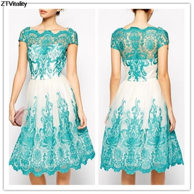 ZTVitality High-End Embroidery Lace Dress Hot Grenadine Slim Sexy Hollow Out Short Sleeve Party Vestidos Fashion Patchwork Dress