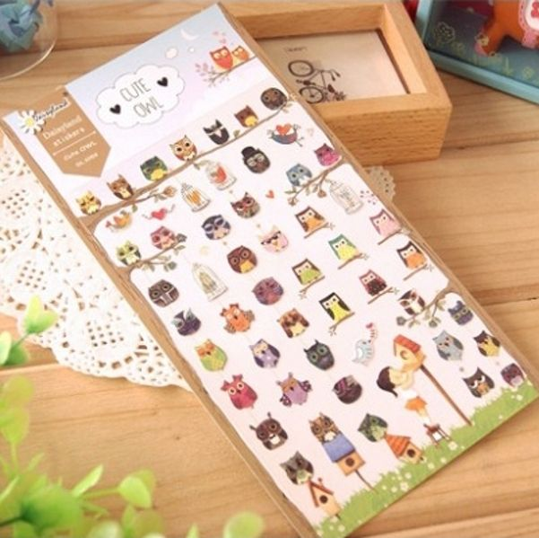 1Sheet New Owl Series Brand Stickers Korea School Supplies Stationery Cute Gift H0685