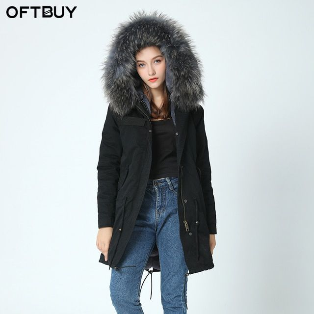 OFTBUY Dropshipping 2017 Army Green Cold winter coat women long real fur coat big raccoon Fur collar hooded thick warm Parkas