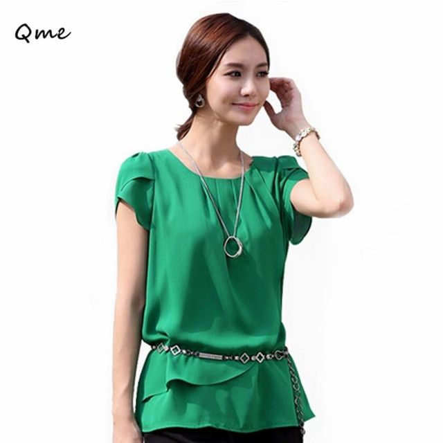 Blusa chiffon blouse green shirt big size women clothes  women's summer blouses office white tops 3xl 4xl for woman large WD026