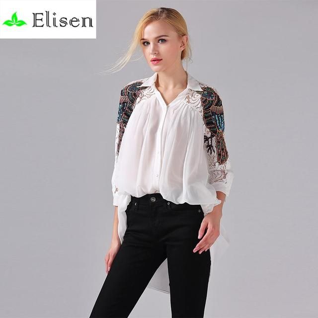 White Brief Embroidery Blouse Women 2016 Spring Summer White / Black/Sky Blue Parrot Beaded Lace Half Sleeve Solid Casual Blouse
