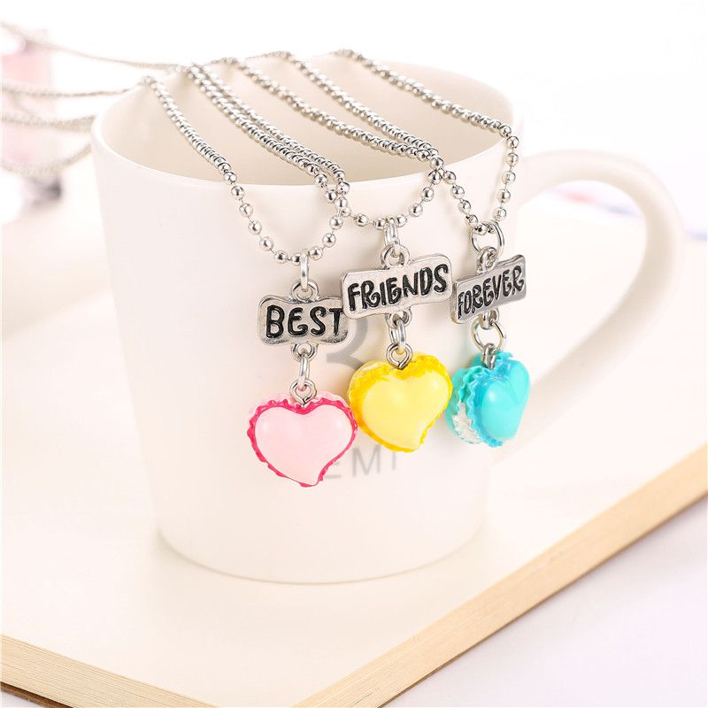 Set of 3 BFF Best Friends Forever Necklace Peach-heart resin ice-cream pendant bead chain necklace,3 colors kids jewelry