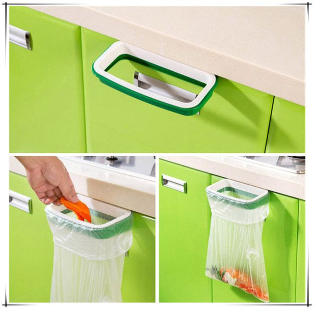 Solid Hanging Desktop Rubbish Bag Storage Holder Rack Cupboard Door Back Stand Trash Garbage Clip Waste Bins Kitchen Accessories
