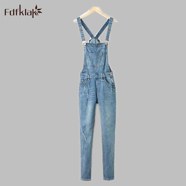 Women Ripped Hole Denim Jumpsuits Ladies Sexy Slim Casual Romper Plus Size 42 Jeans Pencil Overalls For Women Girls Playsuit