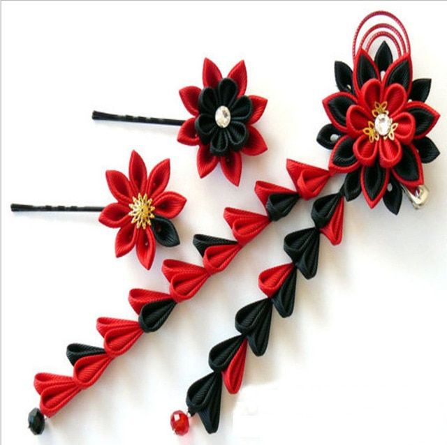 Red And Black Kanzashi Fabric Flower Hair Clips For Wedding -Handmade Japanese Traditional Styles Matching Kimono Yukata