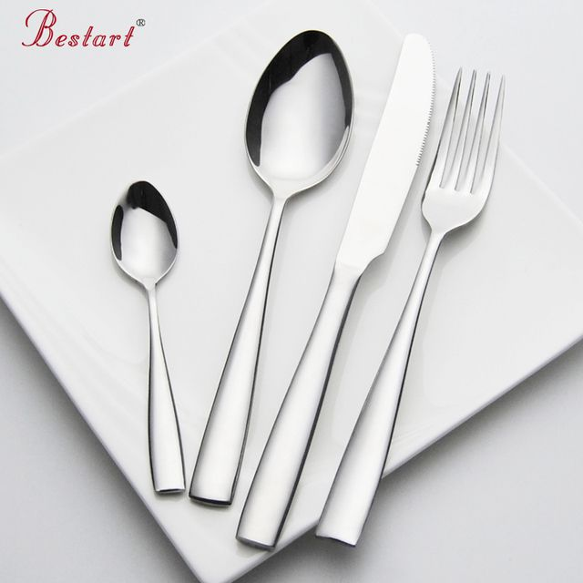 Set Cutlery Stainless Steel 24 pieces Service 6 Person Silver Knife Fork Set Restaurant Cutlery Dinnerware China Sets