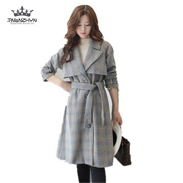 2017 Spring British Style Women Woolen Coat OL Women Plaid Trench Coat Medium Long Single-breasted Slim Coat With Belt SK86