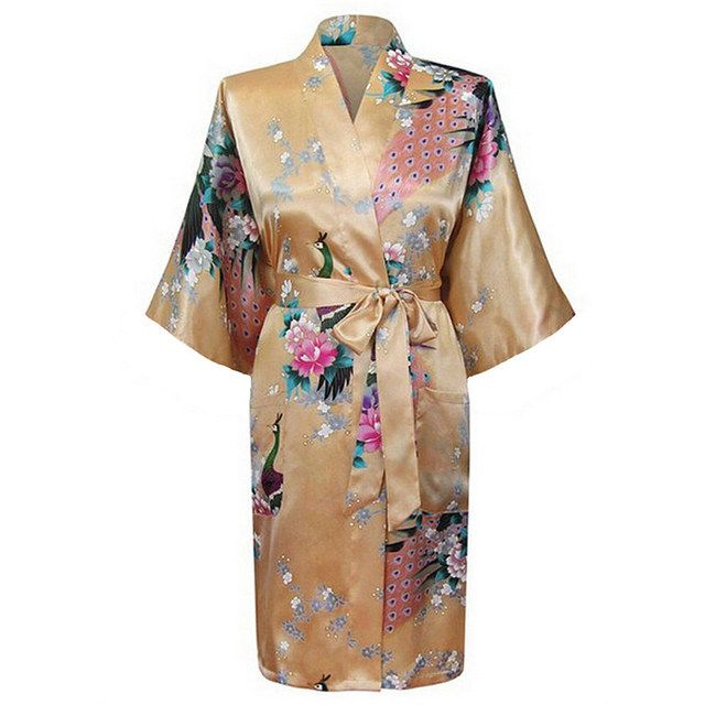 Yeller Fashion Women's Peacock Kimono Bath Robe Nightgown Gown Yukata Bathrobe Sleepwear With Belt S M L XL XXL XXXL KQ-5