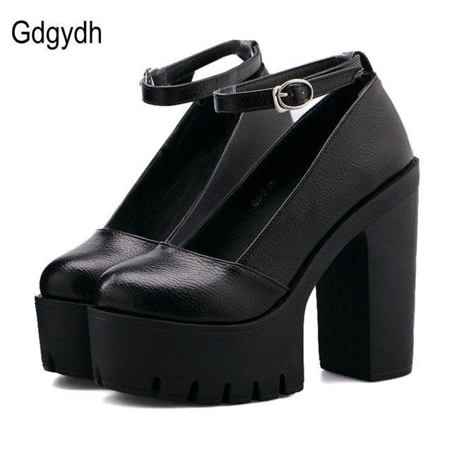 Gdgydh Handmade 2017 New Spring Autumn Ladies Footwear Casual Thick Heels Pumps Women Platform Shoes High Heel Black White