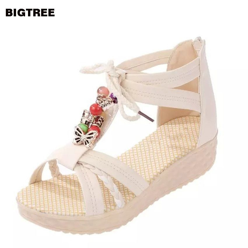 BIGTREE New  Women Sandals Low Heel Wedges Summer Casual Single Shoes Woman Sandal Fashion Soft Sandals Free Shipping 22 MFT
