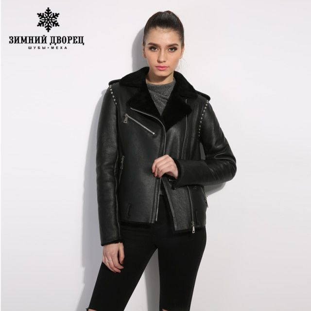Black genuine Leather women fur coat  Street style women winter jacket Female leather sheepskin coat  Short paragraph lapel