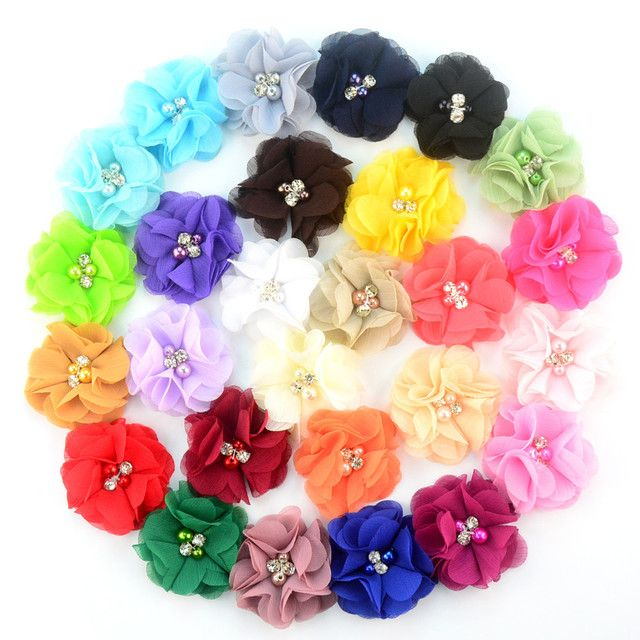 27 Color 140pcs/lot 1.97'' cute chiffon flowers with Rhinestone Pearl without clips girls headbands hair accessories MH22
