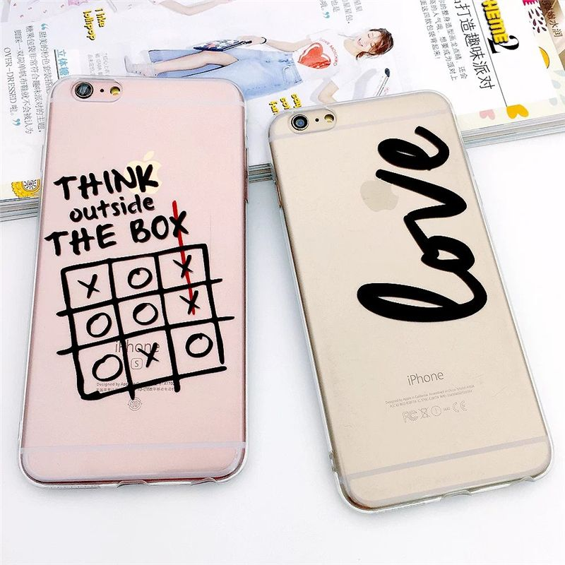 For iPhone 5 5S SE 6 6S Plus Case TPU Clear Painting Stylish Funny Word Bumper Slim Translucent Silicone Back Cover
