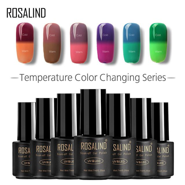 ROSALIND Gel 1S 7ML Temperature changing Chameleon Gel Nail Polish Top Base Coat Needed poly gel Semi Permanent primer for nails