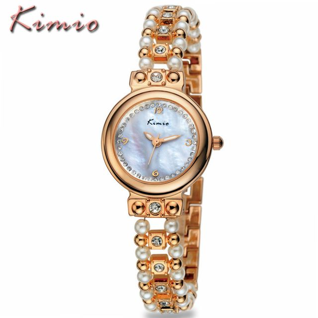 KIMIO Brand Ladies Pearl Bracelet Watches Luxury Fashion Women Gold Alloy Strap Waterproof Quartz Wristwatch Relogio Feminino