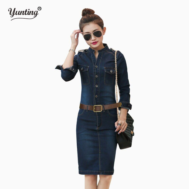 S  XL XXL Female/Ladies Casual Denim Dress Vintage Jeans Dresses Long Sleeve Blue New 2019 Fashion Women Spring Autumn