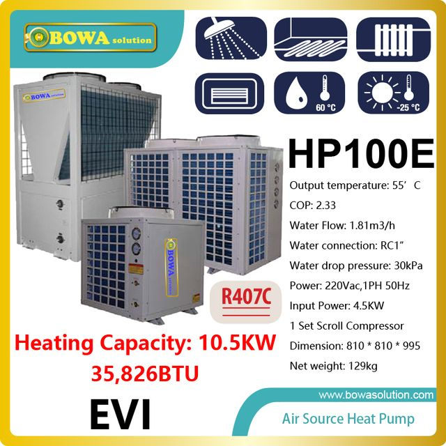 10KW or 36,000BTU -25'C, air source water heat pump heater  for radiator, please check with us about shipping costs