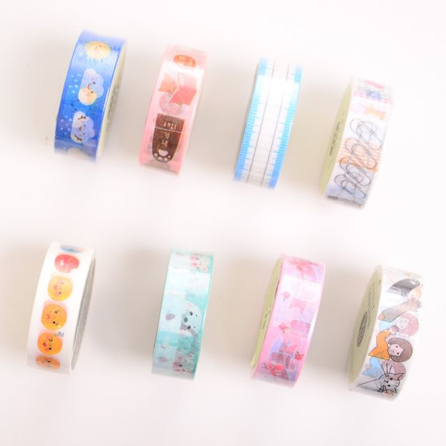 8 pcs/Lot Scrapbook mate decorative paper tape 15mm*10m washi tape School stickers for phone diary foto DIY Stationery F931