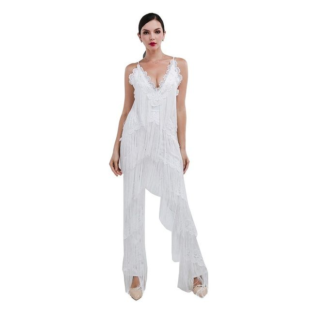 Trendy White Tassel Jumpsuit Women Sexy Day to Night Sleeveless