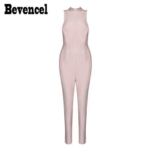 Bevencel 2016 New Women Winter Jumpsuit Sleeveless Turtleneck Sexy Bodycon Fashion Party Club Bandage Jumpsuit Hot Sale