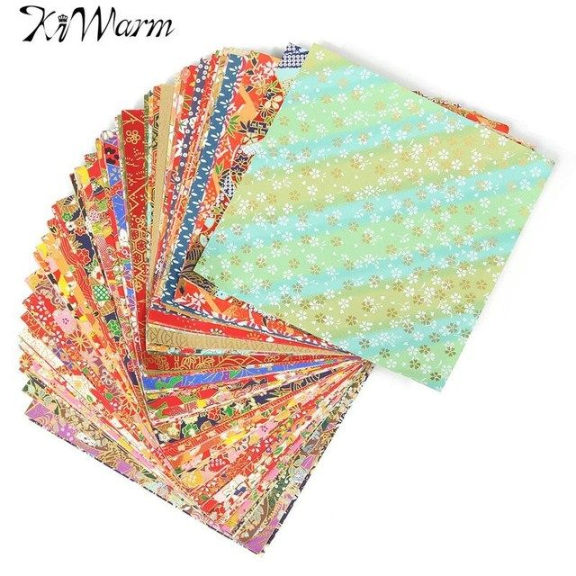 KiWarm100 Sheets 14x14cm Mixed Pattern Japanese Flower Floral Origami Paper Handmade Materials Folded Paper Craft Pattern Random