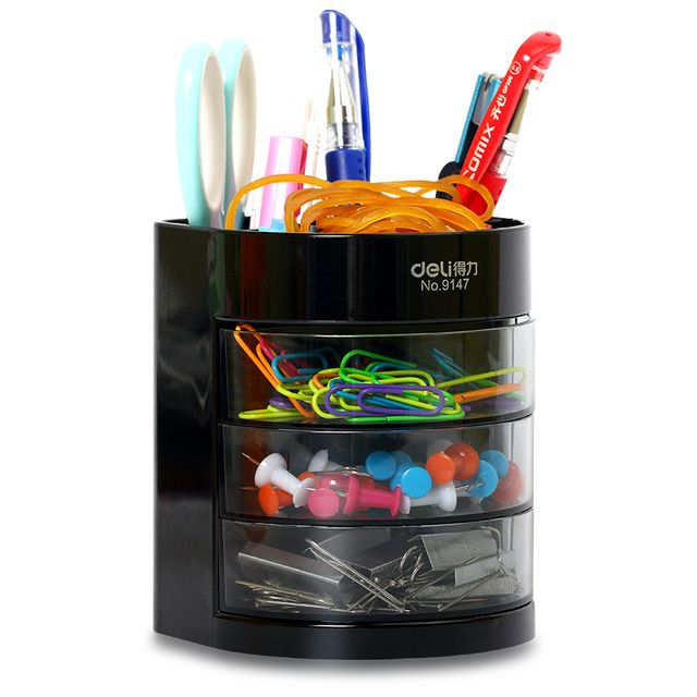 Multifuction Stationery Desk Organizer 6 cells High Quality Plastic Desktop Office Pen Pencil Holder Study Storage