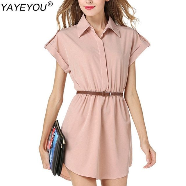 YAYEYOU 2017 Plus Size Summer Chiffon Lapel Collar Blouse Women Shirts Short Sleeve Female Blouses With Belt 5 Colors