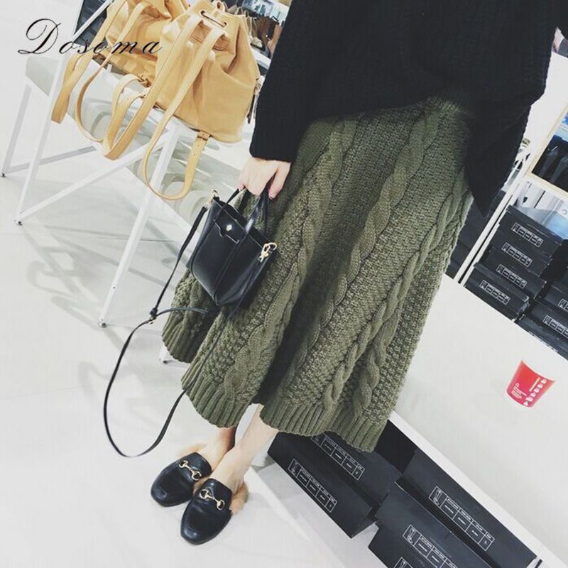 warm knit skirt 2018 fashion autumn/winter apricot knitted skirt korean style army green women skirt thick long skirt black