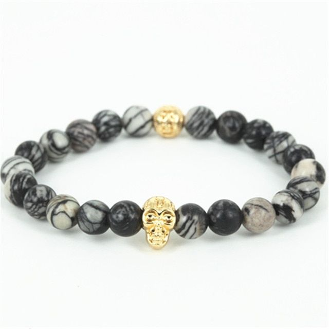 High quality beaded gold-color skull head men bracelet natural network round stone beads women bracelet fine jewelry as a gift